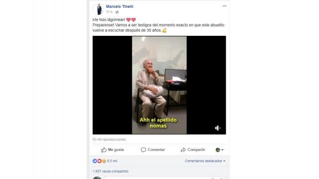 La emoción de un abuelo al volver a escuchar después de 38 años se volvió viral
