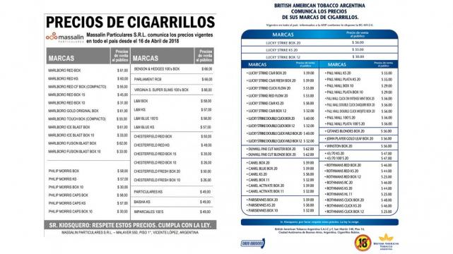El lunes vuelven a aumentar los cigarrillos